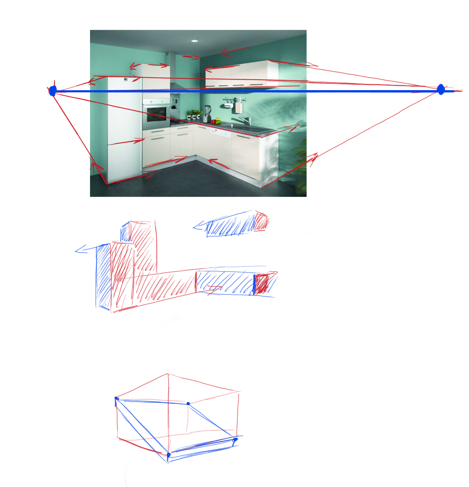Interesting with dessin de cuisine en perspective - Dessiner un meuble en perspective ...