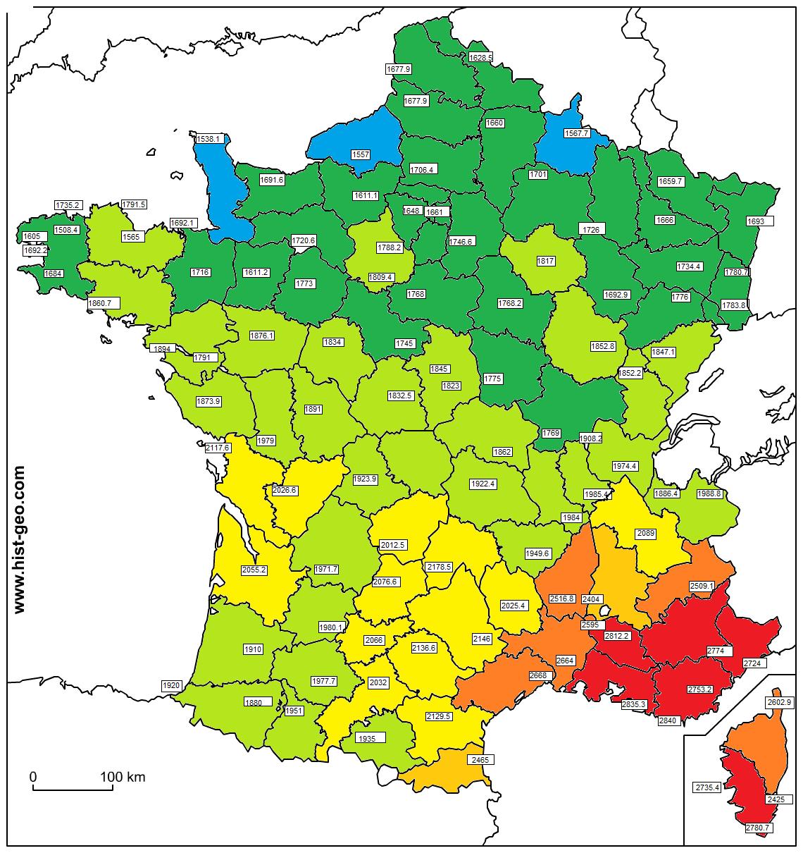 Carte D Ensoleillement En France Par Ville