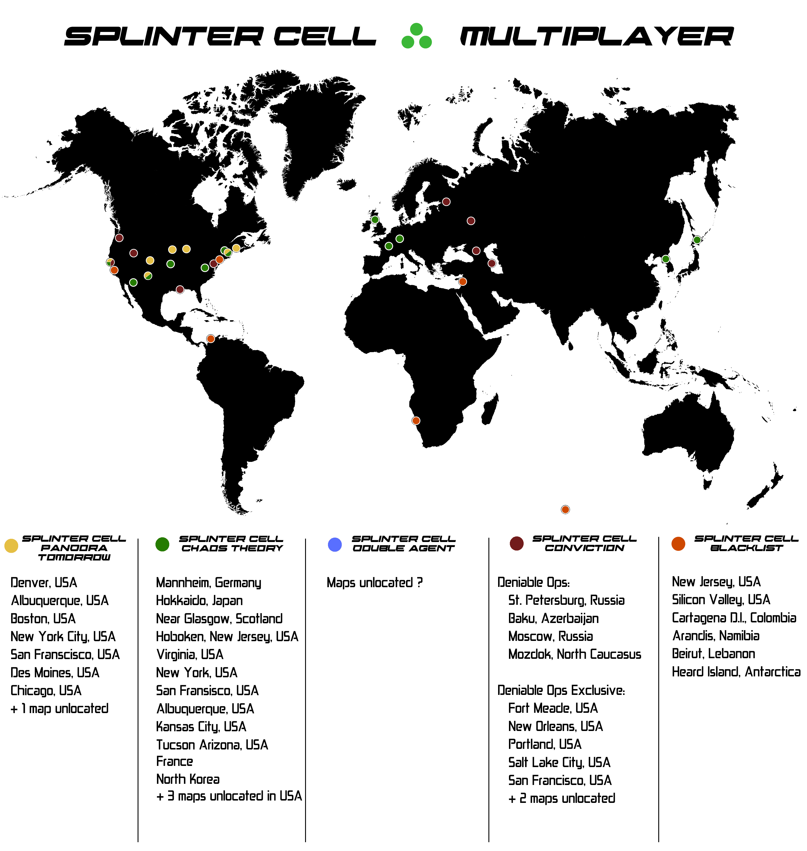 Splinter Cell World Maps Locations Of All Missions