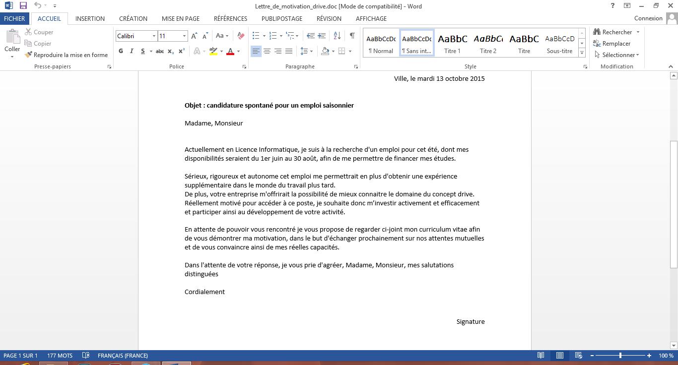 des avis sur mon cv et lettre de motivation sur le forum