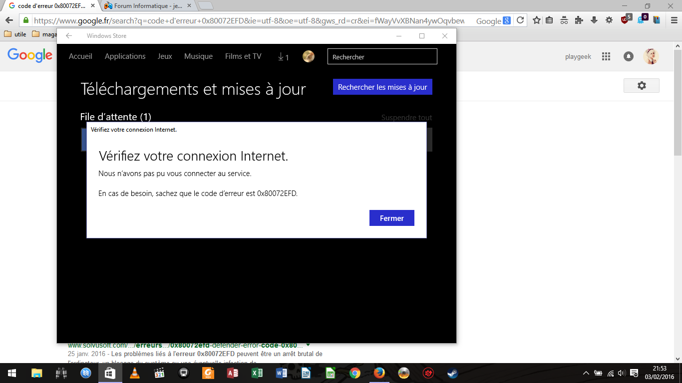 Code d 39 erreur 0x80072efd dans windows store sur le forum - Code erreur s04 03 ...