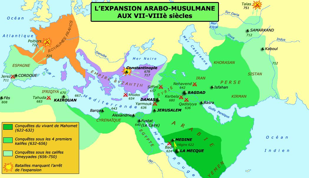 l'expansion de l'islam a partir du 7eme siecle