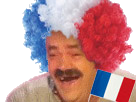 Sticker risitas france perruque drapeau cheveux
