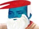 Sticker schtroumpf grand bleu chapeau barbe