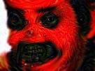 Sticker deforme bizarre tordu difforme rouge diable satan peur alerte