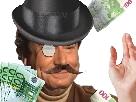 Sticker jesus riche argent chapeau