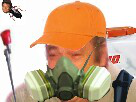 Sticker insecticide jardinier masque gaz
