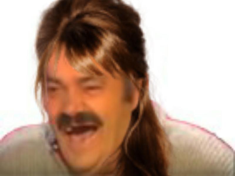 Sticker risitas femme fille travesti rigole cheveux