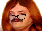 Sticker risitas femme roux rousse lunettes