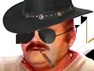 Sticker cow boy western risitas fume saloon cigare
