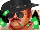 Sticker cow boy western risitas fume saloon cigare argent billets