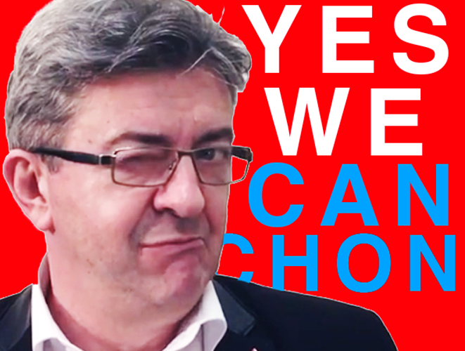 Sticker jean luc melenchon yes we canchon clin oeil