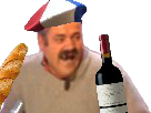 Sticker risitas vin baguette francais cliche
