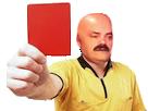Sticker risitas arbitre football carton rouge