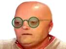 Sticker coffe lunette chauve choque