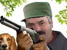 Sticker chein casquette fusil chasse