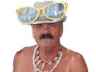 Sticker grosse lunette chapeau torse nue