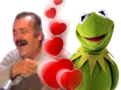 Sticker risitas kermit coeur amour