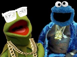 Sticker kermit cookie monster muppets rap bling