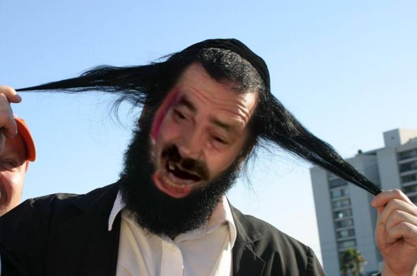 Sticker juif rigolo cheveux kippa