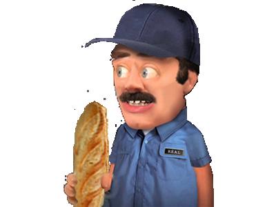 Sticker marionette pain pate a modeler risitas boulanger boulangere associal