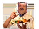 Sticker risitas rire moque chef cuistot cuisinier nourriture restaurant resto michel dumas