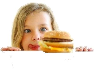 Sticker fille hamburger faim