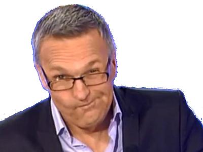 Sticker laurent ruquier onpc perplexe question doute interview moqueur sourire rire on nest pas couche emission chroniqueurs