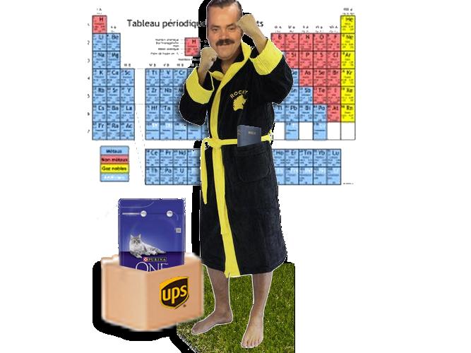 Sticker colis peignoir tableau periodique croquette ups chat chimie bain prolo prolix gratuit free
