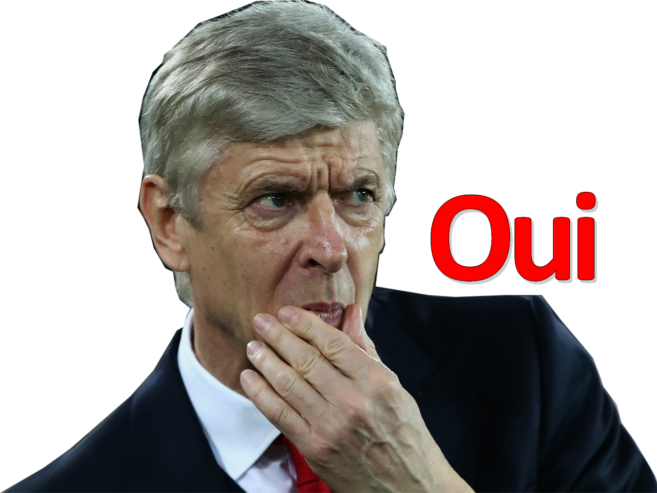 Sticker arsene wenger arsenal football perplexe doute retrospection question ok hesitation indecision crainte incertain