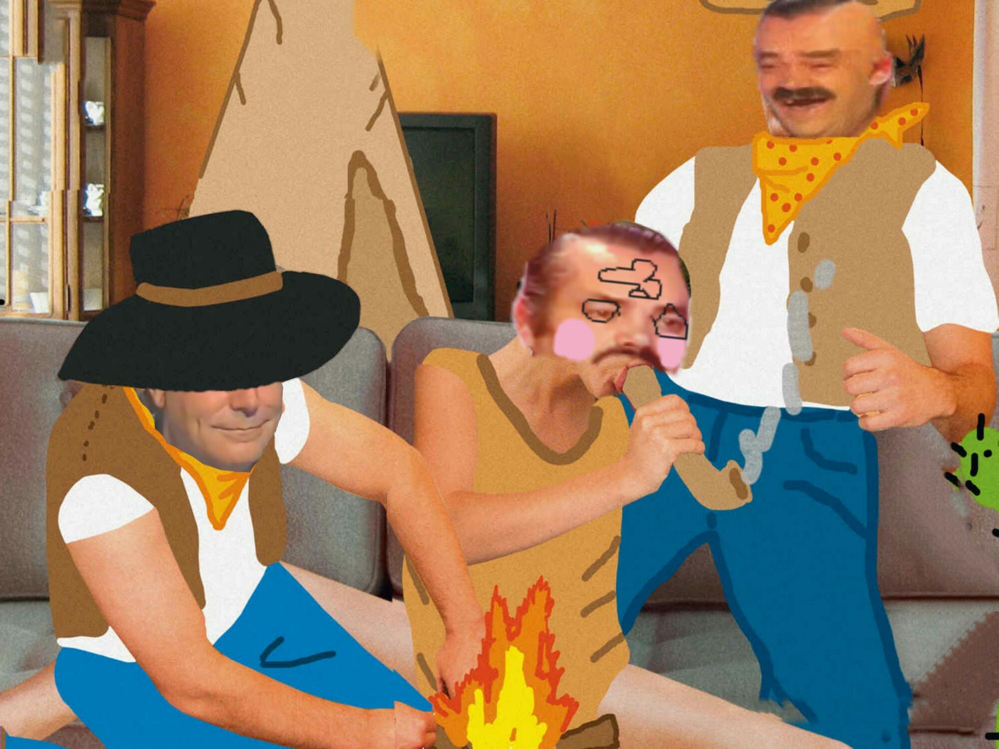 Sticker risitas jeu fume feu 3 gars homme sex
