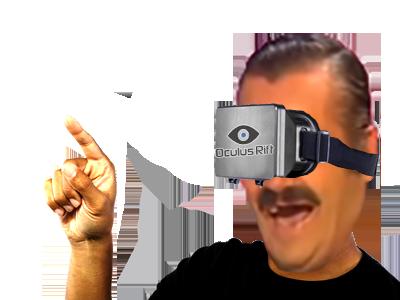 Sticker risitas oculus rift rire doigt se moque jeux video realite virtuelle augmentee casque