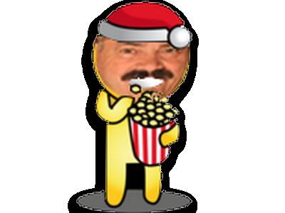 Sticker noel noel pop corn popcorn sourire bonnet rouge