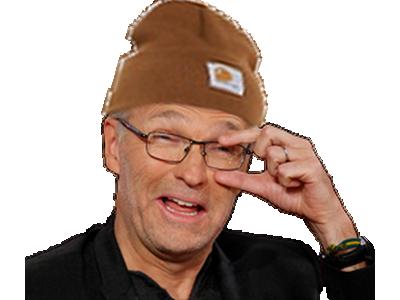 Sticker ruquier bonnet question lunette surpris