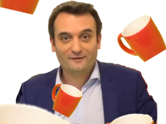 Sticker florian philippot pluie de tasses fn front national politic politique