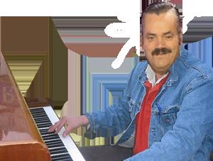Sticker piano sourire elfe narquois musique