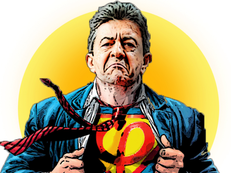 Sticker super melenchon comics superman insoumis