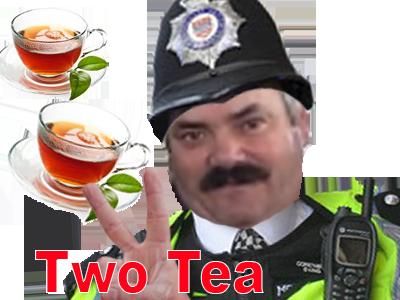 Sticker 2 tea sucres police anglais gilbert 6h