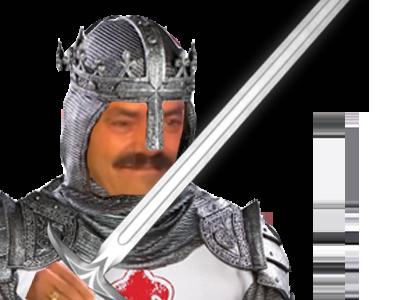 Sticker risitas medieval chevalier epee