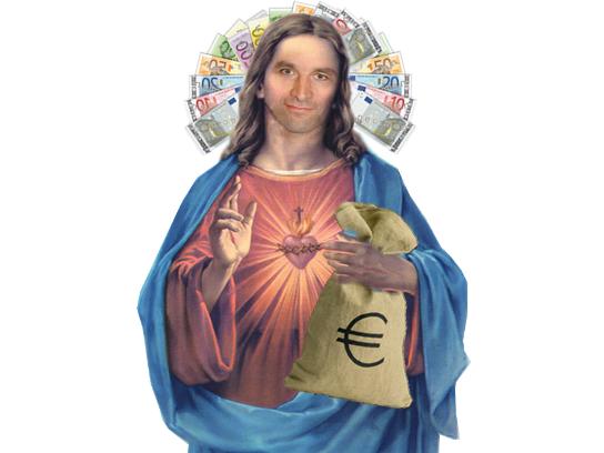 Sticker hamon politique socialiste revenu base universel argent billet euro allocation aide jesus dieu benoit