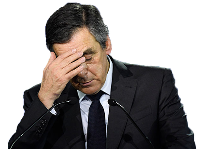 Sticker francois fillon detresse panique blase sueur politique france
