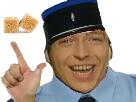 Sticker die woodys gendarme policier deux sucres 2 kepi bleu allemand chanteur flippant sourire police
