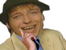 Sticker die woodys allemand chanteur sourire flippant perplexe doigt dubitatif reflexion reflechit consterne quoi