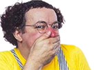 Sticker coluche clown rire humiliation