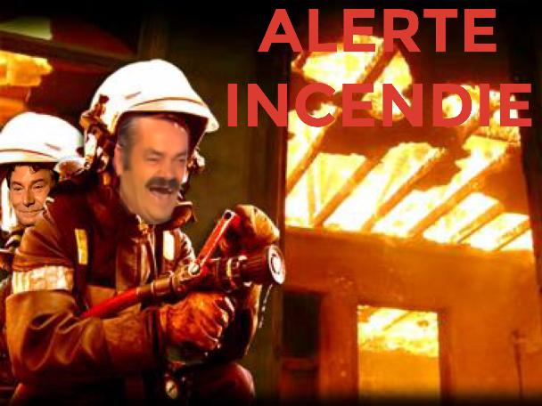 Sticker issou risitas pompier alerte feu fire jesus