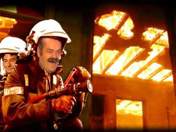 Sticker issou risitas feu fire pompier jesus