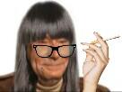 Sticker cheveux lunette femme jesus cigarette long superieur reflexion
