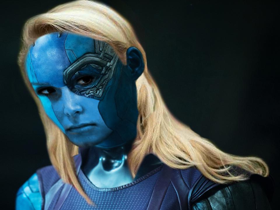 Sticker pen fn marion nebula thanos marvel alien vilain ovni soldat blonde femme avengers galaxie colere regard star fille soeur