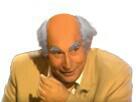 Sticker vieux cheveux blancs chauve rire jesus issou