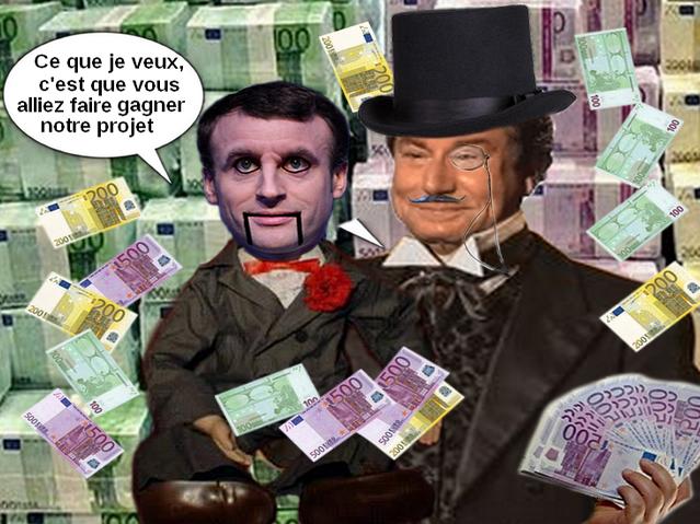Sticker macron jesus banquier argent riche poupee ventriloque ps maitre esclave billet clown cirque spectacle